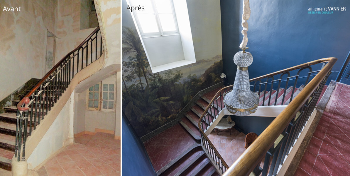 Avant / Après Chateau - Escalier